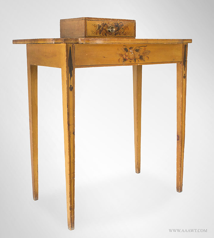 Antique Dressing Table, Paint Decorated Surface New England, Circa 1810 Eastern white pine, freehand pained decoration on mustard yellow ground, entire view 1