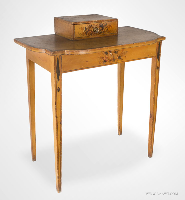 Antique Dressing Table, Paint Decorated Surface New England, Circa 1810 Eastern white pine, freehand pained decoration on mustard yellow ground, entire view 2