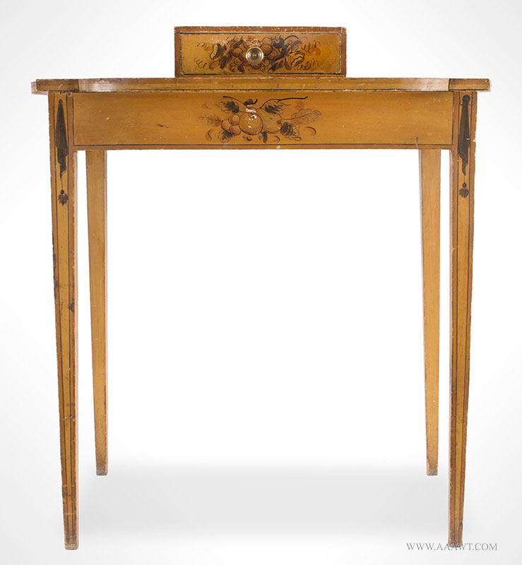 Antique Dressing Table, Paint Decorated Surface New England, Circa 1810 Eastern white pine, freehand pained decoration on mustard yellow ground, entire view 3