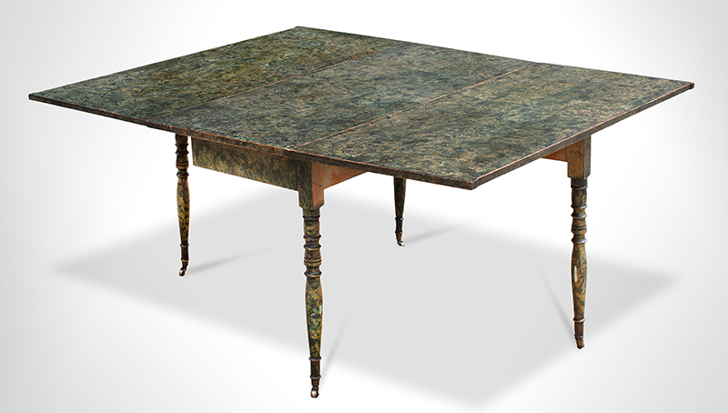 Antique, Fancy Paint Decorated Drop-leaf Table, Dining Proportions New England, Probably Maine, 19th Century Fancy Vinegar Decoration, Green Paint, entire view 3