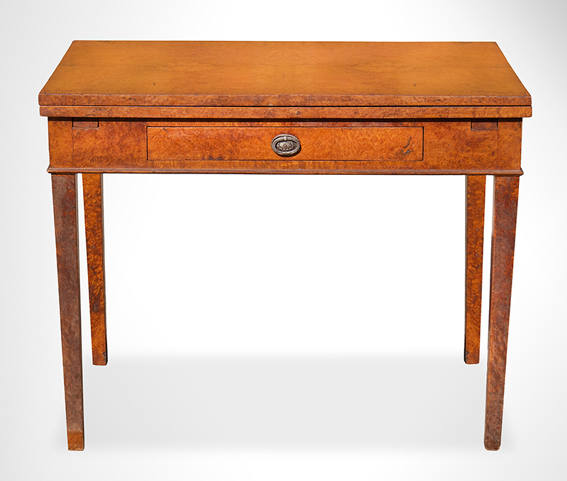 Antique Occasional Table, Supper, Card or Games, Unique Draw-Leaf Action, Burlwood  Unknown Maker, Early 19th Century Matchbook veneer and Solid wood, entire view
