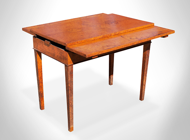 Antique Occasional Table, Supper, Card or Games, Unique Draw-Leaf Action, Burlwood  Unknown Maker, Early 19th Century Matchbook veneer and Solid wood, angle view 2