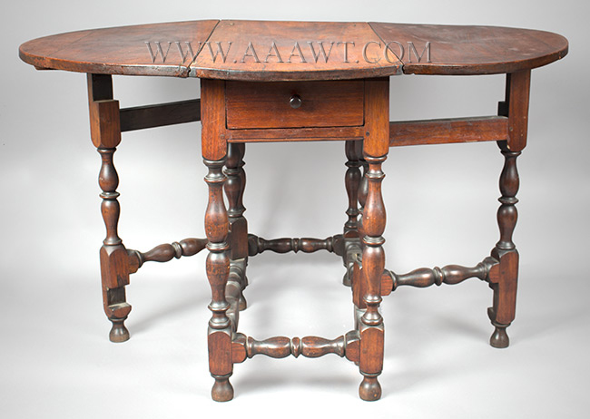 Antique Gateleg Table, William and Mary, Robust Turnings, Good Color Massachusetts, Circa 1730 Walnut, entire view