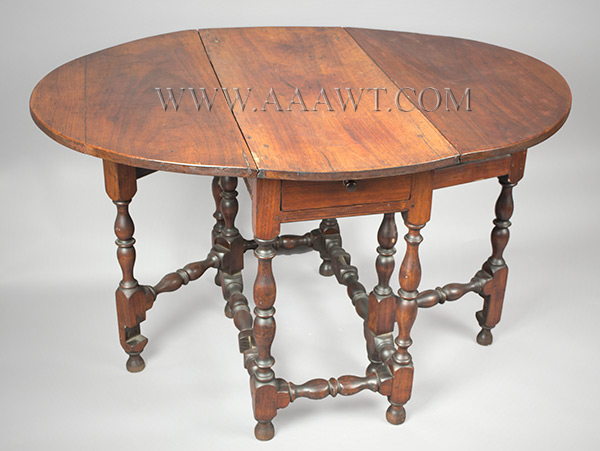 Antique Gateleg Table, William and Mary, Robust Turnings, Good Color Massachusetts, Circa 1730 Walnut, angle view 1