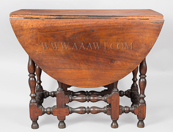 Antique Gateleg Table, William and Mary, Robust Turnings, Good Color Massachusetts, Circa 1730 Walnut, leaves down view