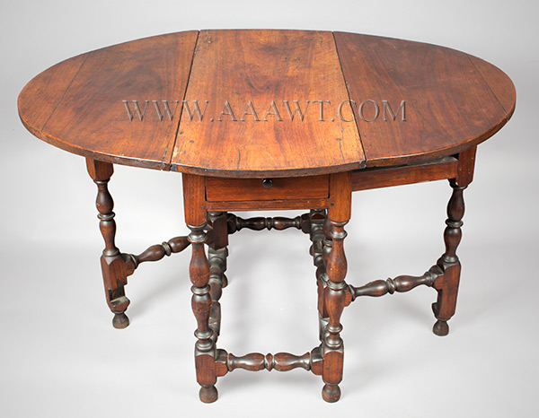 Antique Gateleg Table, William and Mary, Robust Turnings, Good Color Massachusetts, Circa 1730 Walnut, angle view 2