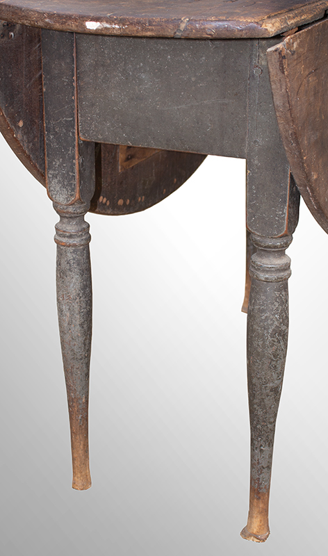 18th Century Drop Leaf Table in Paint, Queen Anne, Rhode Island, Circa 1750-1765 Maple and chestnut, scrubbed top displaying outstanding patina, original paint Maple and chestnut, soft gray paint, detail view 1