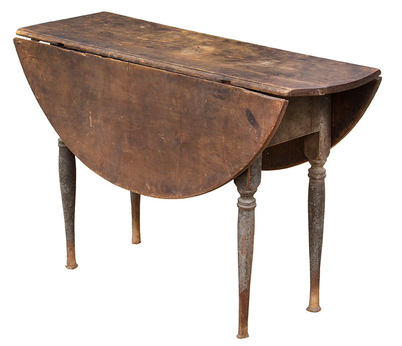 18th Century Drop Leaf Table in Paint, Queen Anne, Rhode Island, Circa 1750-1765 Maple and chestnut, scrubbed top displaying outstanding patina, original paint Maple and chestnut, soft gray paint, entire view 1