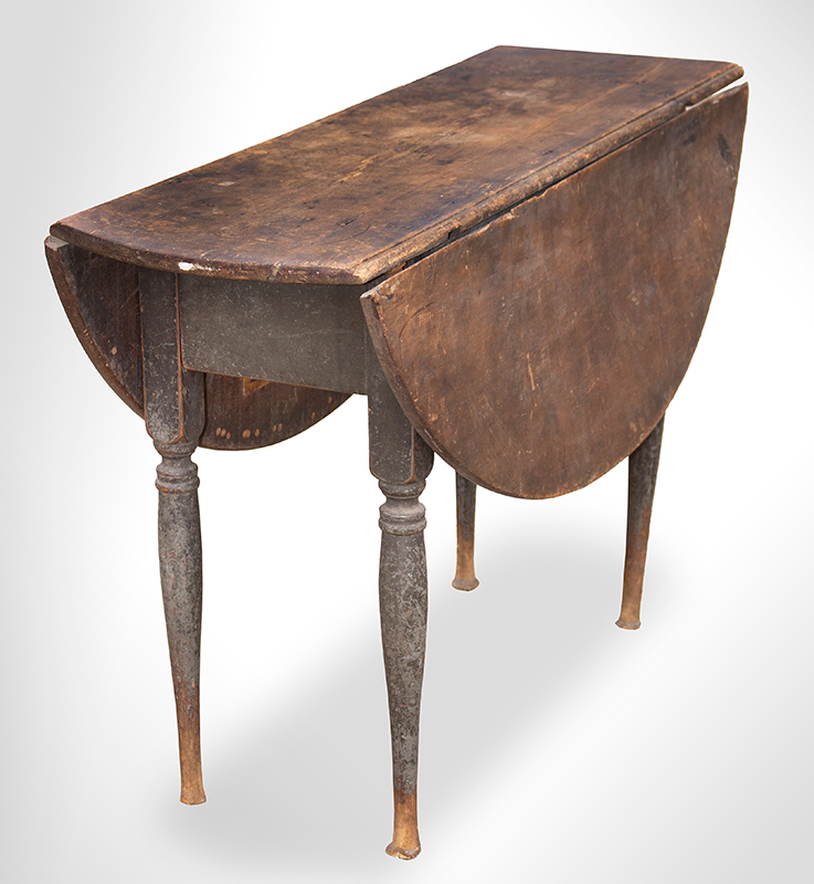 18th Century Drop Leaf Table in Paint, Queen Anne, Rhode Island, Circa 1750-1765 Maple and chestnut, scrubbed top displaying outstanding patina, original paint Maple and chestnut, soft gray paint, entire view 2