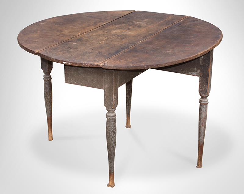 18th Century Drop Leaf Table in Paint, Queen Anne, Rhode Island, Circa 1750-1765 Maple and chestnut, scrubbed top displaying outstanding patina, original paint Maple and chestnut, soft gray paint, entire view 3