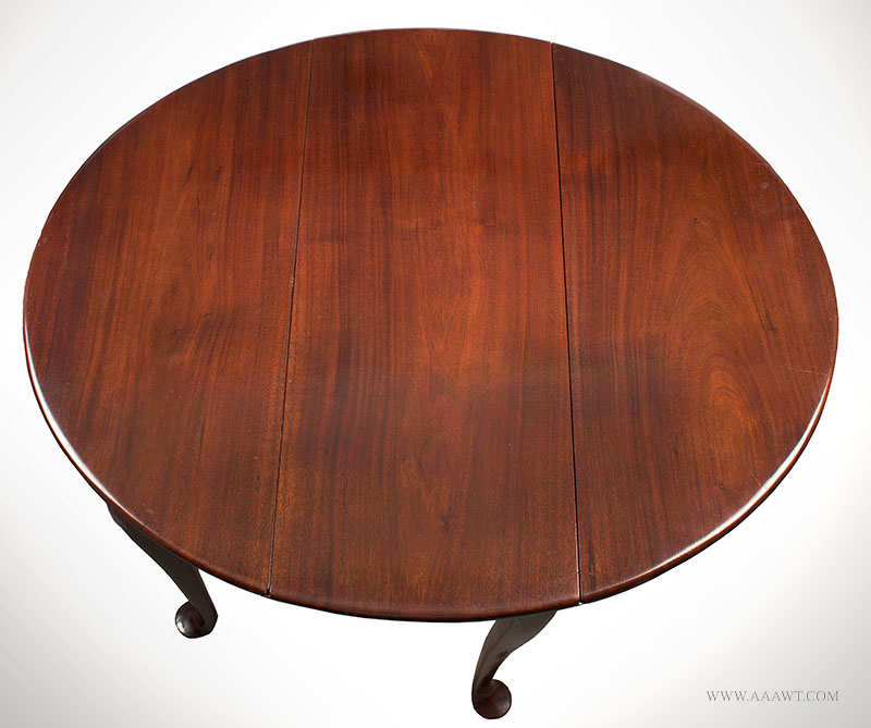 Queen Anne Mahogany Diminutive Drop-Leaf Table, Great Wood, 28-Inches Wide  Boston, 1740-1760  Extremely rare size, elegant and graceful, beautiful wood grain, top view