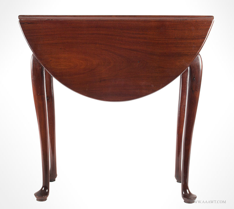 Queen Anne Mahogany Diminutive Drop-Leaf Table, Great Wood, 28-Inches Wide  Boston, 1740-1760  Extremely rare size, elegant and graceful, beautiful wood grain, entire view 1
