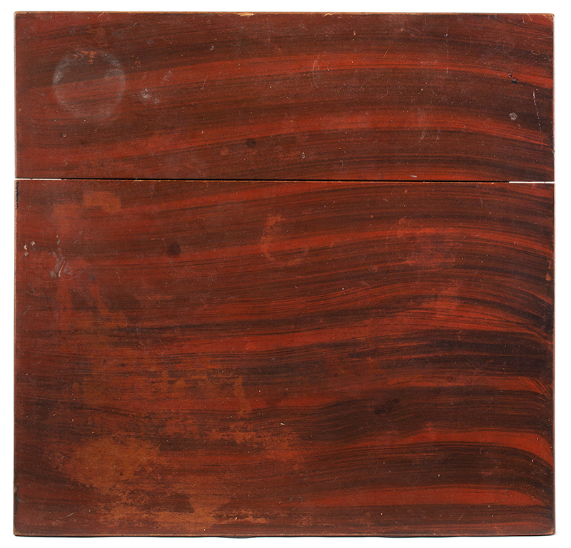 Sheraton One Drawer Paint Decorated Table Probably Maine, circa 1830 Pine Broadly brushed black paint over red, spirited turning, top view