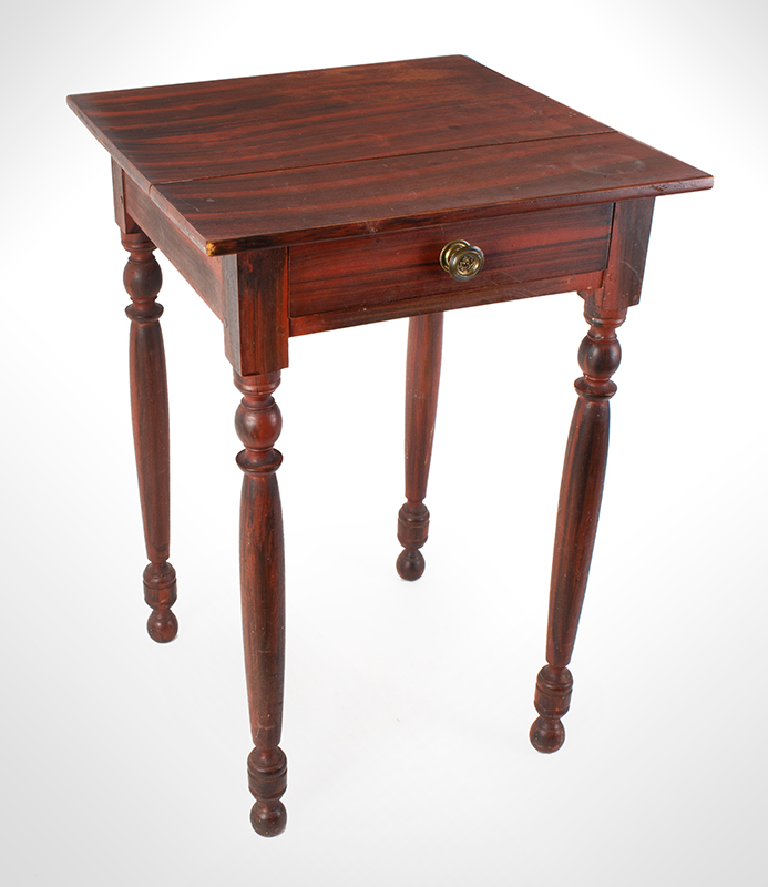 Sheraton One Drawer Paint Decorated Table Probably Maine, circa 1830 Pine Broadly brushed black paint over red, spirited turning, entire view 1