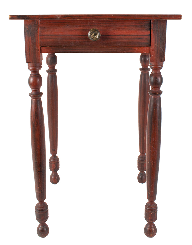 Sheraton One Drawer Paint Decorated Table Probably Maine, circa 1830 Pine Broadly brushed black paint over red, spirited turning, entire view 2