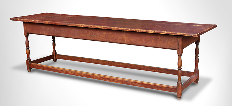 Antique New England Refractory Table, Original Red Paint, Extremely Rare Connecticut River valley, Circa 1710-1740 Maple and pine, entire view