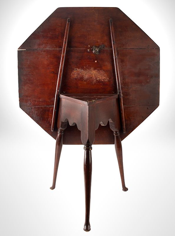 Antique Queen Anne Tavern Table, Octagonal, Triangular Frame, Scalloped Apron New England, 18th Century Maple, entire view 2