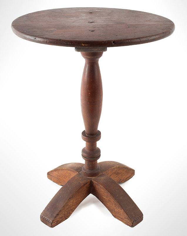 Antique Candlestand, Oval Top, X-Form Base, Turned Pedestal, Original Surface  New England, Circa 1680-1730, entire view 1
