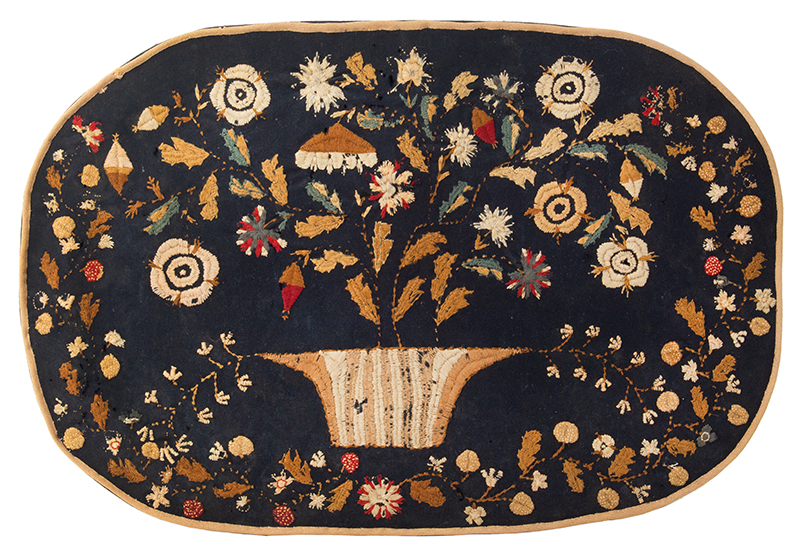 19th Century Wool Tablemat, Basket of Flowers Likely New England, Mid-19th Century, entire view