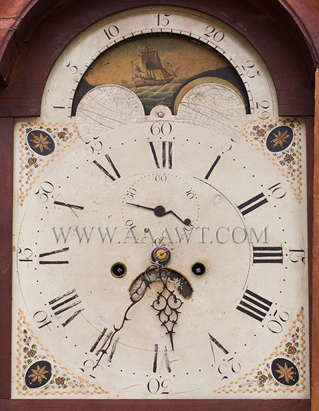 Tall Clock, Federal, Inlaid, Attributed to Nathan Lombard, Sutton, Massachusetts Mass., Circa 1800 to 1810 Cherry, dial detail