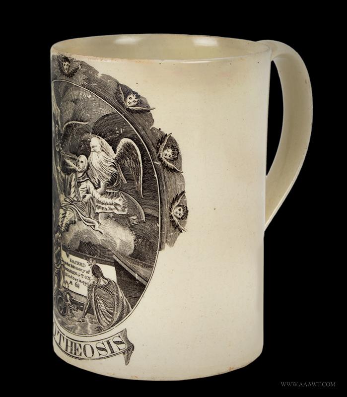 Creamware, Transfer Printed Tankard, Apotheosis, Sacred to the Memory of Washington England, Liverpool, Circa 1800, angle view