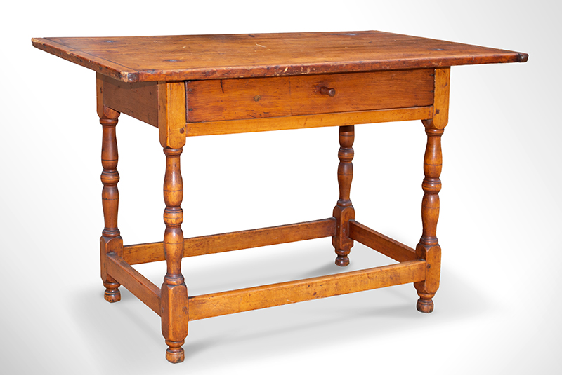 Antique Tavern Table, Worktable  New England, circa 1750  Maple and white pine, entire view 2