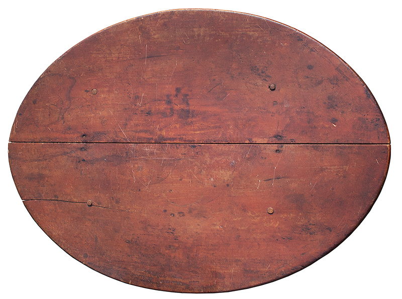 William and Mary Tavern Table, Old Red Paint New England, Likely Massachusetts, Early 18th Century Maple and white pine, top view