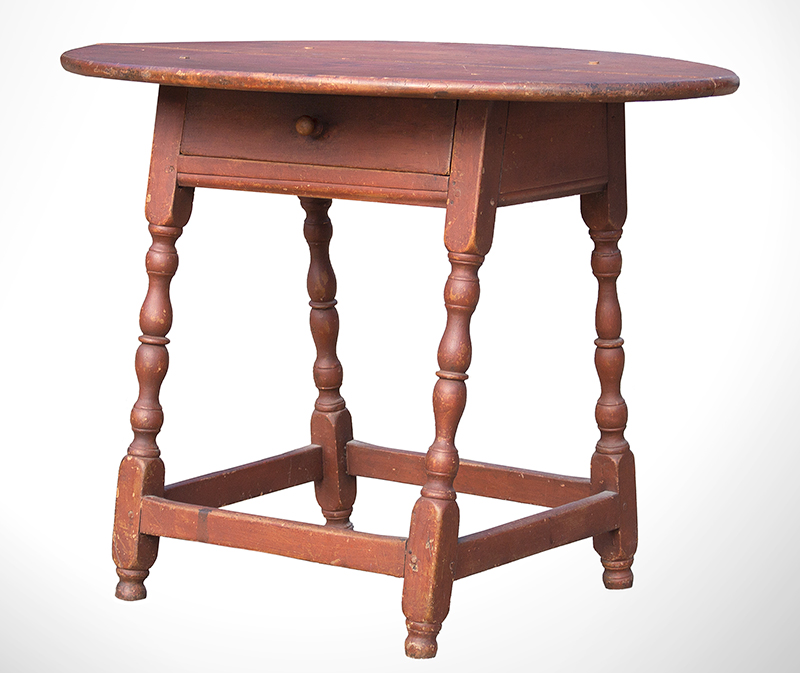 William and Mary Tavern Table, Old Red Paint New England, Likely Massachusetts, Early 18th Century Maple and white pine, entire view 1