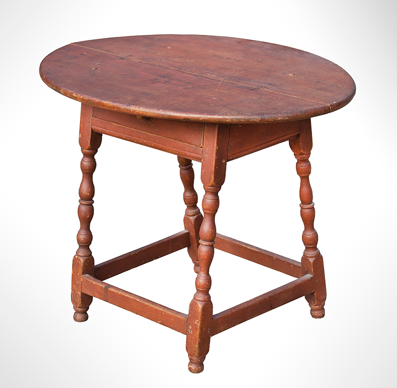 William and Mary Tavern Table, Old Red Paint New England, Likely Massachusetts, Early 18th Century Maple and white pine, entire view 2