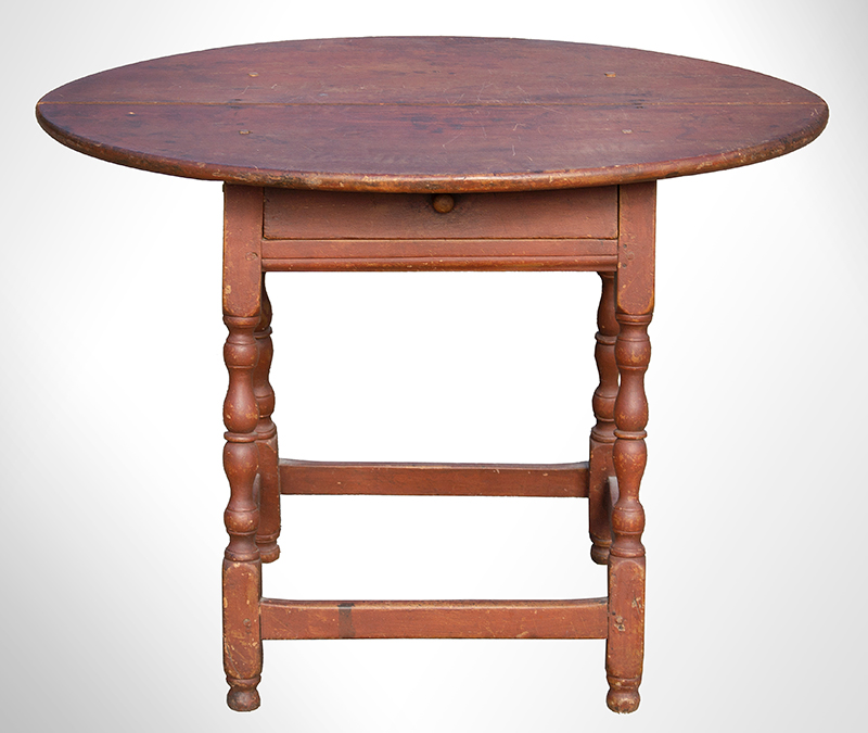 William and Mary Tavern Table, Old Red Paint New England, Likely Massachusetts, Early 18th Century Maple and white pine, entire view 6