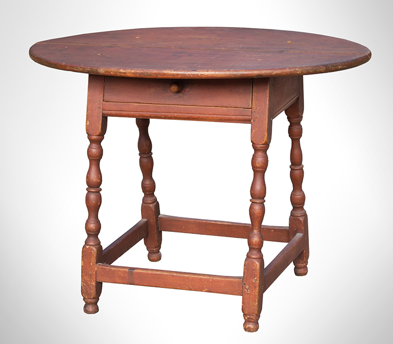 William and Mary Tavern Table, Old Red Paint New England, Likely Massachusetts, Early 18th Century Maple and white pine, entire view 7