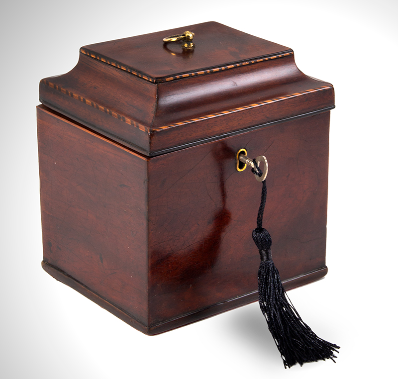 Chippendale Tea Caddy, Small Size Likely English, circa 1760-1780 Mahogany, entire view 1