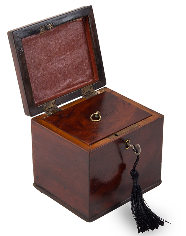 Chippendale Tea Caddy, Small Size Likely English, circa 1760-1780 Mahogany, entire view 2