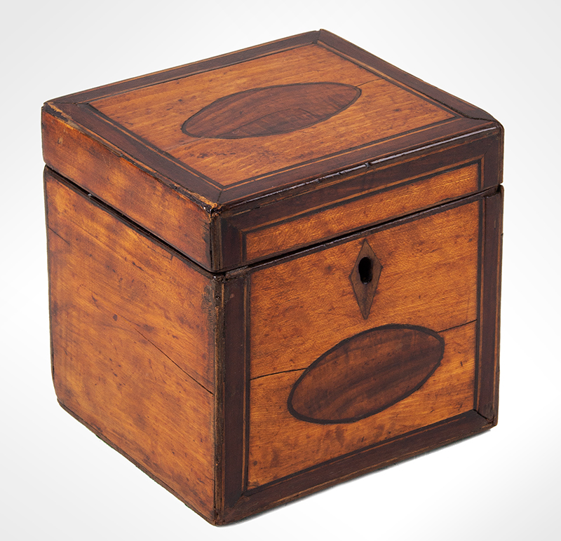 Hepplewhite Tea Caddy, Small Square Size Likely England, circa 1790-1810 Satinwood, mahogany banding, string inlay, entire view 1