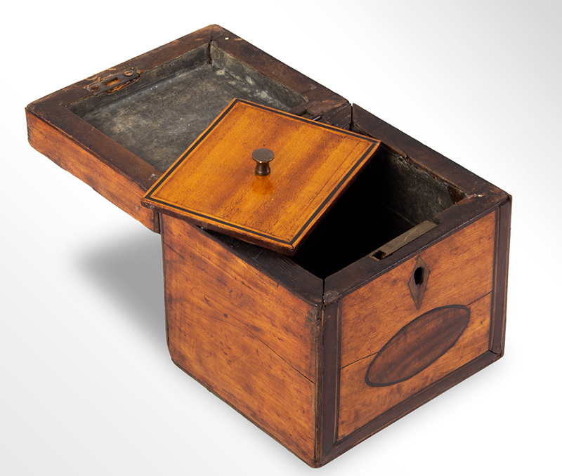 Hepplewhite Tea Caddy, Small Square Size Likely England, circa 1790-1810 Satinwood, mahogany banding, string inlay, entire view 2