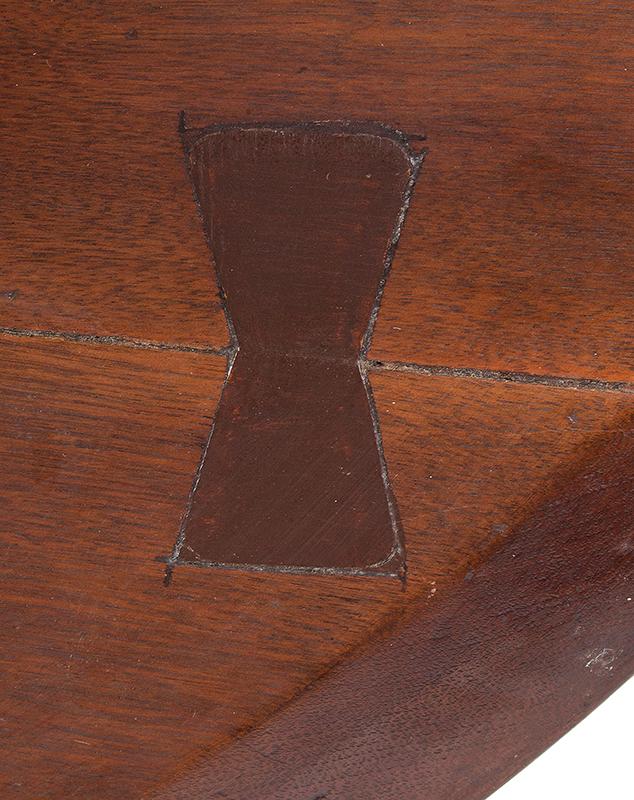 Antique Tea table, Circular Tilt Top, Dish Edge, Birdcage Support Pennsylvania, circa 1765-1780 Walnut, old surface, detail view 3