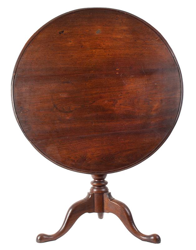 Antique Tea table, Circular Tilt Top, Dish Edge, Birdcage Support Pennsylvania, circa 1765-1780 Walnut, old surface, entire view 1