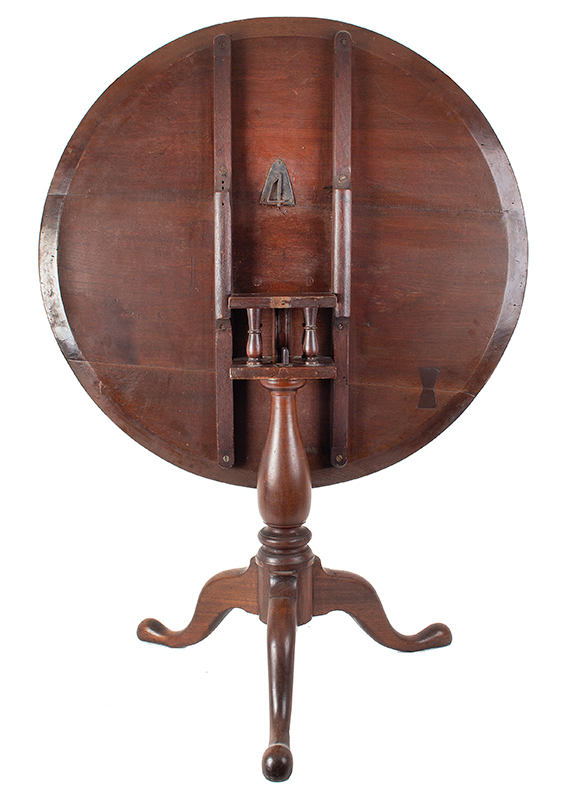 Antique Tea table, Circular Tilt Top, Dish Edge, Birdcage Support Pennsylvania, circa 1765-1780 Walnut, old surface, entire view 3