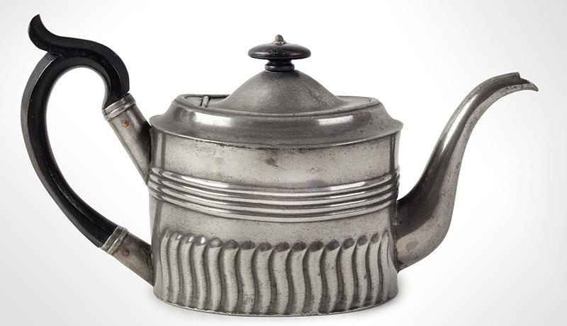 Antique Oval Britannia Metal Teapot, Circa 1785-1810 Ex Oliver Deming Collection, entire view 1