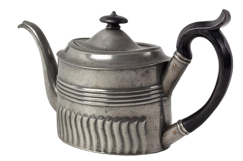Antique Oval Britannia Metal Teapot, Circa 1785-1810 Ex Oliver Deming Collection, entire view 3