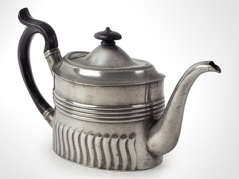 Antique Oval Britannia Metal Teapot, Circa 1785-1810 Ex Oliver Deming Collection, entire view 4