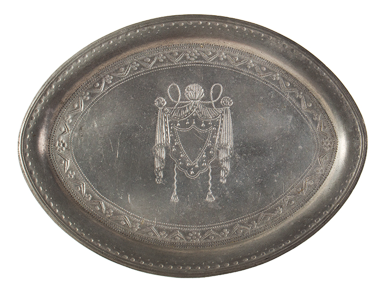 Antique Pewter teapot Stand, James Vickers, Circa 1787-1800 England, Maker's mark stamped into the underside, (1'' x 7'' x 5.125''), entire view 1