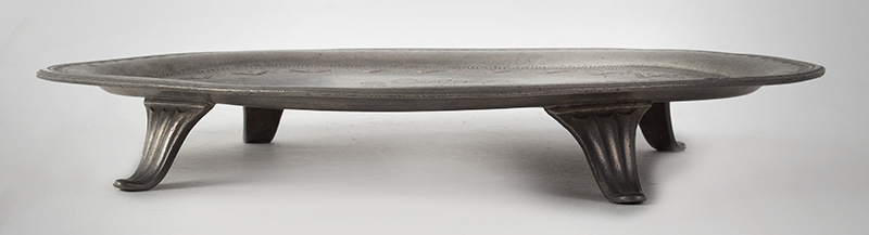 Antique Pewter teapot Stand, James Vickers, Circa 1787-1800 England, Maker's mark stamped into the underside, (1'' x 7'' x 5.125''), entire view 2