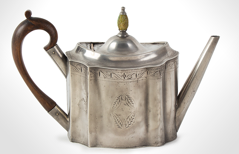 Antique Pewter Teapot with Pineapple Knop Signed, Hancock & Jessop, circa 1770-1775, entire view 1