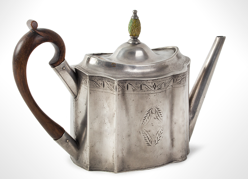 Antique Pewter Teapot with Pineapple Knop Signed, Hancock & Jessop, circa 1770-1775, entire view 2