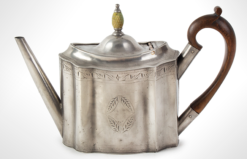 Antique Pewter Teapot with Pineapple Knop Signed, Hancock & Jessop, circa 1770-1775, entire view 3