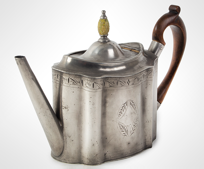Antique Pewter Teapot with Pineapple Knop Signed, Hancock & Jessop, circa 1770-1775, entire view 4