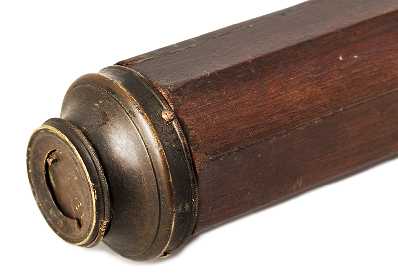 """Single Draw Two Inch 18th Century Telescope, Spyglass, Overall Length: 59""""  Probably London Brass and mahogany, length: 47.25"""", 59"""" extended, detail view 2"""