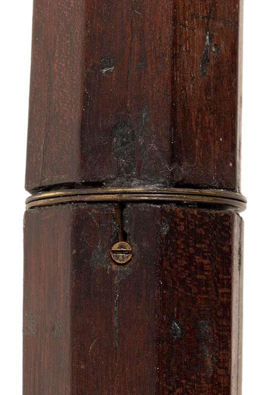 """Single Draw Two Inch 18th Century Telescope, Spyglass, Overall Length: 59""""  Probably London Brass and mahogany, length: 47.25"""", 59"""" extended, detail view 3"""