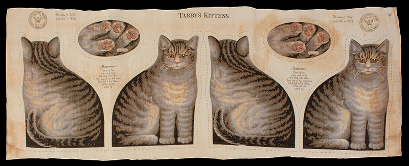 Arnold Print Works Uncut Pillow Panels, Tabby's Kittens & Pug Puppies Rare Cutout Patterns, c. 1892 North Adams, Massachusetts, cats view